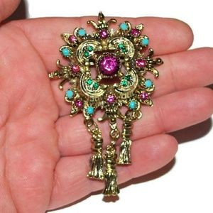 Victorian Revival Brooch Pink Turquoise Green